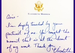Personal Letter Received from Senator Elizabeth Warren of Massachusetts